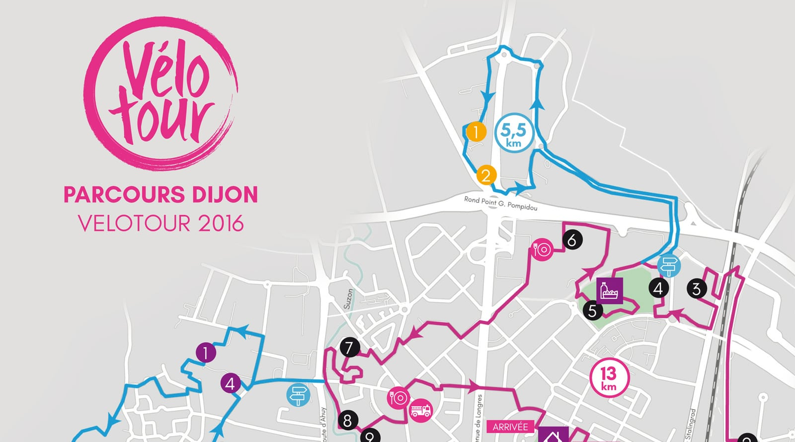 Parcours du Vélotour Dijon 2016