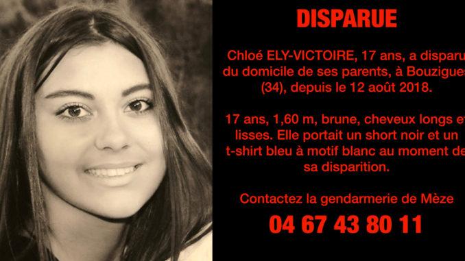 Disparition de Chloé Ely-Victoire à Bouzigues dans l'Hérault