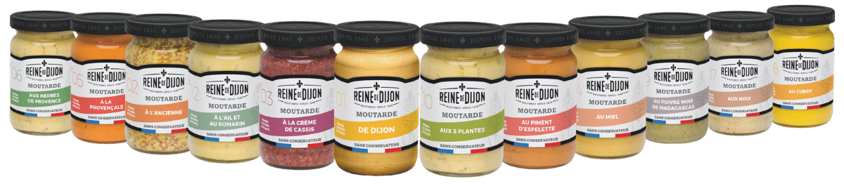 La gamme de moutarde Reine de Dijon